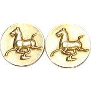 Alva Museum Replica Flying Horse of Kansu Gold Tone Earrings 1974