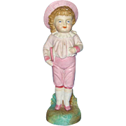 Old Porcelain Bisque Figurine Schoolboy with Slate 7 inch Blue Diamond R Mark Possibly Germany