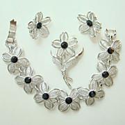 1967 Sarah Coventry Black Beauty Set Bracelet Earrings Pin Rhodium Plated