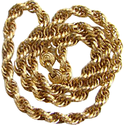 Vintage Monet Goldtone Rope Twist Chain Necklace Signed 24 Inch Costume Jewelry