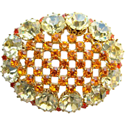 Vintage Made in Austria Brilliant Rhinestone Brooch Pin Champagne Orange