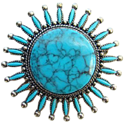 Vintage Southwestern Style Faux Turquoise Brooch Pin Antiqued Silvertone