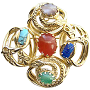 Vintage Snake Pendant Brooch Pin Gold Tone Faux Gemstones Art Glass Costume Jewelry