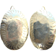 Vintage Artist Hand Crafted Sterling Silver Large Oval Pierced Earrings