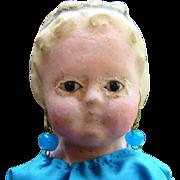 C1850s German Doll Glass Eyed Wax Over Papier Mache Squeaker 15 Inch