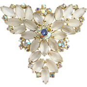 Vintage Frosted Clear Rhinestone Brooch Pin Open Back Gold Tone Unsigned