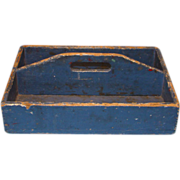 SOLD Antique 19thC New England Primitive Knife Box in Old Blue Paint T Head Nails