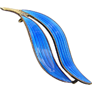 Vintage Modernist Norway Aksel Holmsen Blue Enamel Double Leaf Pin Signed