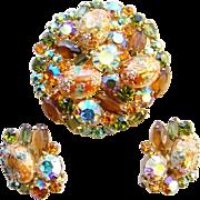 Juliana DeLizza & Elster Rhinestone Brooch Earrings Coral Gold Easter Eggs