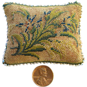SOLD Victorian Sewing Needle Pin Cushion with Floral Needlepoint Embroidery Handstitched
