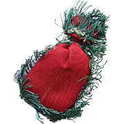 Victorian Sewing Needle Pin Cushion Emery Bag Shape Red Cotton Green Fringe