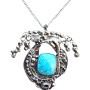C1940s Arts and Crafts Turquoise Sterling Silver Pendant Necklace Possibly Mary Gage