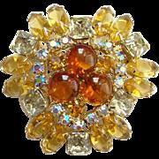 Vintage Amber Topaz Aurora Borealis Rhinestone Pin Brooch Open Back Stones