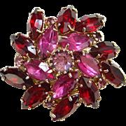 Vintage Fuchsia Red Pink Rhinestone Brooch Pin Goldtone Swirl Design