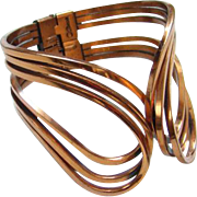 Vintage C1950s Renoir Copper Hinged Clamper Cuff Bracelet Modernist Abstract Style Signed Boho