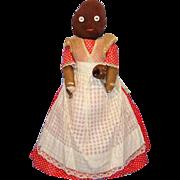 Mammy Cloth Rag Bottle Doll Holding Baby 1930s Black Americana Folk Art 14 Inch