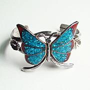 SALE PENDING Vintage Southwestern Cuff Bracelet Sterling Silver Chip Mosaic Butterfly