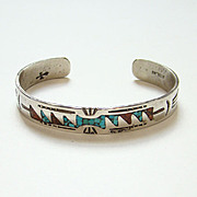 Southwestern Tribal Navajo Style Cuff Bracelet Sterling Silver Coral Turquoise Chip Mosaic ...