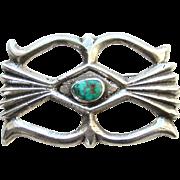 Vintage Navajo Sand Cast Sterling Silver Turquoise Pendant Brooch