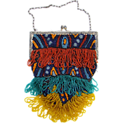 Flapper Era Art Deco Fringed Beaded Purse Bag Blue Red Orange Teal Yellow Glass Beads