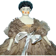 Old Low Brow China Shoulder Head Doll Marked Germany Original Lace Gown 9.5 Inch