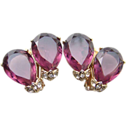 Gorgeous Vintage Amethyst Rhinestone Clip Earrings Two Pear Shape Stones