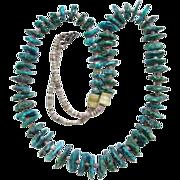 Vintage Southwestern Tribal Heishi and Graduated Turquoise Shard Necklace C1960s