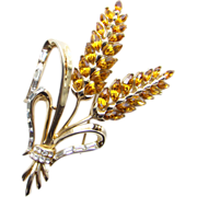Corocraft Floral Rhinestone Hyacinth Brooch Amber Clear Signed Pat Pend