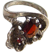 Vintage Old Art Nouveau Style Sterling Silver Garnet Ring Size 6 Marked 925