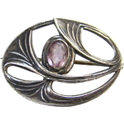 Old Arts and Crafts Sterling Silver and Amethyst Floral Pin Brooch