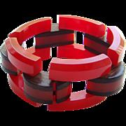 Cherry Red Bakelite Link Bracelet Wood Accent Vintage Fabulous