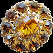 Vintage Austria Austrian Amber Aurora Borealis Rhinestone Brooch Pin