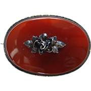Old Oval Carnelian Agate and Sterling Silver Brooch Pin C Clasp