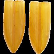 Art Deco Amber Yellow Bakelite Dress Clips C1930s