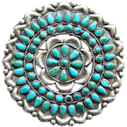 Large Zuni Needlepoint Turquoise and Sterling Silver Cluster Brooch Pin