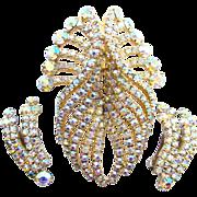 Vintage Rhinestone Brooch Clip Earrings Set Aurora Borealis Stones Stunning