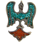 SOLD C1970s Southwestern Tribal Peyote Water Bird Ring Turquoise Coral Shiprock Chip Inlay Siz