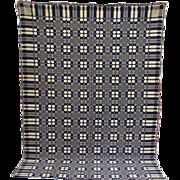 Antique New England Double Weave Homespun Coverlet Indigo Blue White C1830-40