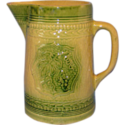 C1900 Midwest Green Glaze Yellow Ware Graduated Pitcher Grape Cluster Largest Size Yelloware Y