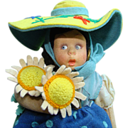 SOLD C1930 Lenci Mascotte Provincial Regional Miniature Felt Costume Doll with Tags 10 inch
