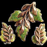 Vintage Matisse Renoir Laurel Leaf Green Gold Enamel Copper Brooch Earrings Set Signed