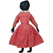 19thC Black Cloth Rag Doll in Original Red Calico Dress Embroidered Features 23 Inches NYS Ori