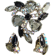 Vintage Black Diamond Smoke Clear Rhinestone Brooch Earrings Unsigned