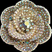 Vintage Aurora Borealis Rhinestone Petals Flower Brooch Pin Unsigned