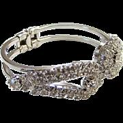 Vintage Clear Rhinestone Clamper Bracelet Silver Tone Gorgeous High Quality