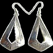 Southwestern Tribal Sterling Silver Dangle Pierced Earrings Stamp Decorated Boho Bohemian Gyps