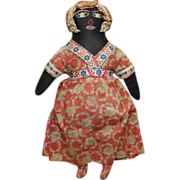 C1920-30s Black Cloth Doll Embroidered Features Red Dress 15 Inch