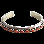 SALE PENDING Vintage Navajo Coral Sterling Silver Cuff Bracelet Signed Livingston Native Ameri