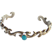 Vintage Navajo Wilson Begay Cuff Bracelet Turquoise Sterling Silver