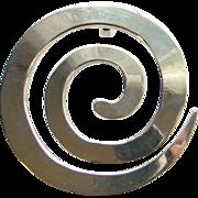 Vintage Studio Artist Modernist Necklace Pendant Sterling Silver Circular